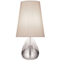 Robert Abbey 676 Jonathan Adler Claridge 20 inch 100 watt Lead Crystal with Polished Nickel Table Lamp Portable Light in Oyster Gray Dupioni
