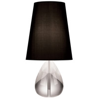 Robert Abbey 676B Jonathan Adler Claridge 20 inch 100 watt Lead Crystal with Polished Nickel Table Lamp Portable Light in Black Dupioni