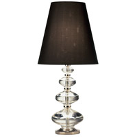 Robert Abbey 677B Jonathan Adler Claridge 25 inch 100 watt Lead Crystal with Polished Nickel Table Lamp Portable Light in Black Dupioni
