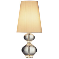 Robert Abbey 678 Jonathan Adler Claridge 22 inch 100 watt Lead Crystal with Polished Nickel Table Lamp Portable Light in Oyster Gray Dupioni