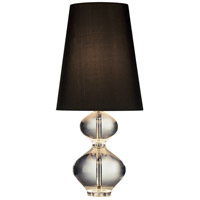 Robert Abbey 678B Jonathan Adler Claridge 22 inch 100 watt Lead Crystal with Polished Nickel Table Lamp Portable Light in Black Dupioni