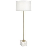 Robert Abbey 680 Jonathan Adler Canaan 65 inch 100 watt Antique Brass Floor Lamp Portable Light in Oyster Linen White Marble Base