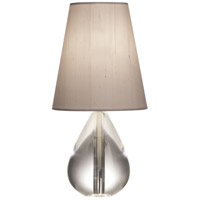 Robert Abbey 684 Jonathan Adler Claridge 12 inch 40 watt Lead Crystal with Polished Nickel Accent Lamp Portable Light in Oyster Gray Dupioni