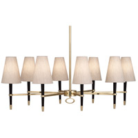 Jonathan Adler Ventana 8 Light 45 inch Ebonyed Wood with Antique Brass Chandelier Ceiling Light in Ebony Wood w/ Antique Brass