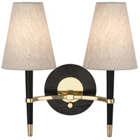 Jonathan Adler Ventana 2 Light 17 inch Ebonyed Wood with Antique Brass Wall Sconce Wall Light in Ebony Wood w/ Antique Brass