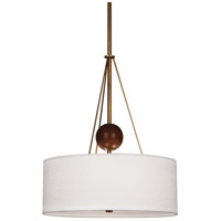 Robert Abbey 783 Jonathan Adler Ojai 3 Light 15 inch Aged Brass with Walnut Wood Pendant Ceiling Light in Walnuted Wood