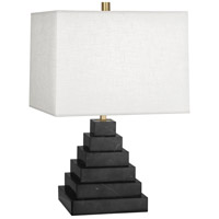 Jonathan Adler Canaan 24 inch 150 watt Stepped Black Marble Antique Brass Table Lamp Portable Light in White Brussels Linen, Antique Brass Accents