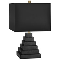 Jonathan Adler Canaan 24 inch 150 watt Stepped Black Marble Antique Brass Table Lamp Portable Light in Black Parchment, Antique Brass Accents