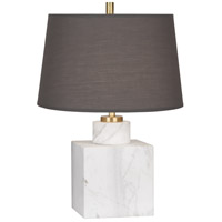 Jonathan Adler Canaan 20 inch 100 watt Carrara Marble with Antique Brass Table Lamp Portable Light in Smoke Grey Fabric