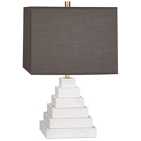 Jonathan Adler Canaan 24 inch 150 watt Stepped Carrara Marble with Antique Brass Table Lamp Portable Light in Smoke Grey Fabric, Antique Brass Accents