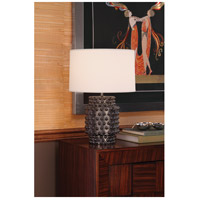 Robert Abbey 801 Dolly 21 inch 150 watt Textured Ceramic with Gunmetal Reactive Glaze Table Lamp Portable Light in Fondine Fabric 801-GLAM.jpg thumb