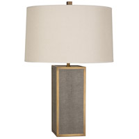 Robert Abbey 898 Anna 29 inch 150 watt Faux Brown Snakeskin with Aged Brass Table Lamp Portable Light in Taupe Dupioni, Aged Brass Accents photo thumbnail