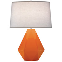 Robert Abbey 933 Delta 23 inch 150 watt Pumpkin with Polished Nickel Table Lamp Portable Light in Oyster Linen