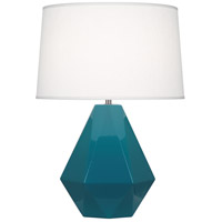 Robert Abbey 934 Delta 23 inch 150 watt Peacock with Polished Nickel Table Lamp Portable Light in Oyster Linen
