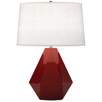 Robert Abbey 938 Delta 23 inch 150 watt Oxblood with Polished Nickel Table Lamp Portable Light in Oyster Linen