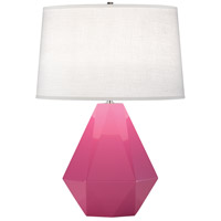 Robert Abbey 941 Delta 23 inch 150 watt Schiaparelli Pink with Polished Nickel Table Lamp Portable Light in Oyster Linen