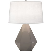 Robert Abbey 942 Delta 23 inch 150 watt Smoky Taupe with Polished Nickel Table Lamp Portable Light in Oyster Linen thumb