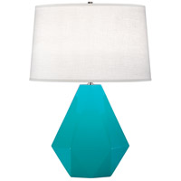 Robert Abbey 943 Delta 23 inch 150 watt Egg Blue with Polished Nickel Table Lamp Portable Light in Oyster Linen