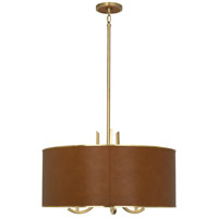 Robert Abbey 953C Francesco 3 Light 17 inch Antique Brass with Camel Leather Pendant Ceiling Light in Metal