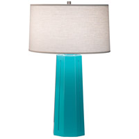 Robert Abbey 973 Mason 26 inch 150 watt Egg Blue with Polished Nickel Table Lamp Portable Light in Oyster Linen