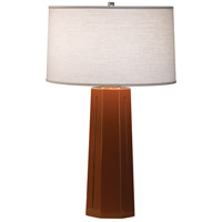 Robert Abbey 974 Mason 26 inch 150 watt Cinnamon with Polished Nickel Table Lamp Portable Light in Oyster Linen