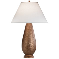 Robert Abbey 9866 Beaux Arts 34 inch 150 watt Dark Antique Copper Over Hammered Cast Metal Table Lamp Portable Light in Oyster Linen thumb