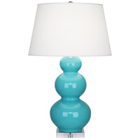 Robert Abbey Triple Gourd 1 Light Table Lamp in Egg Blue Glazed Ceramic A362X