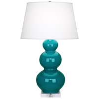 Peacock Ceramic Triple Gourd Table Lamps