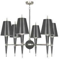 Robert Abbey A604 Jonathan Adler Versailles 6 Light 15 inch Ash Lacquer with Polished Nickel Chandelier Ceiling Light in Ash With Matte Silver