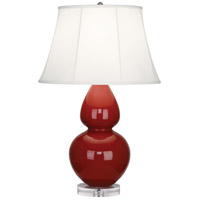 Robert Abbey A627 Double Gourd 30 inch 150 watt Oxblood Table Lamp Portable Light in Lucite Ivory Silk