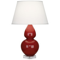 Robert Abbey A627X Double Gourd 30 inch 150 watt Oxblood Table Lamp Portable Light in Lucite Pearl Dupioni