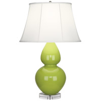 Robert Abbey A673 Double Gourd 30 inch 150 watt Apple Table Lamp Portable Light in Lucite Ivory Silk