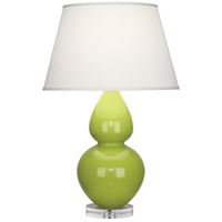 Robert Abbey A673X Double Gourd 30 inch 150 watt Apple Table Lamp Portable Light in Lucite Pearl Dupioni