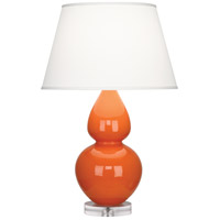 Robert Abbey A675X Double Gourd 30 inch 150 watt Pumpkin Table Lamp Portable Light in Lucite Pearl Dupioni