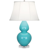 Robert Abbey A741 Double Gourd 30 inch 150 watt Egg Blue Table Lamp Portable Light in Lucite, Ivory Silk