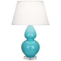 Robert Abbey A741X Double Gourd 30 inch 150 watt Egg Blue Table Lamp Portable Light in Lucite, Pearl Dupioni