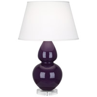 Robert Abbey A747X Double Gourd 30 inch 150 watt Amethyst Table Lamp Portable Light in Lucite, Pearl Dupioni