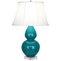 Robert Abbey A753 Double Gourd 30 inch 150 watt Peacock Table Lamp Portable Light in Lucite, Ivory Silk