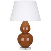 Robert Abbey A759X Double Gourd 30 inch 150 watt Cinnamon Table Lamp Portable Light in Lucite, Pearl Dupioni