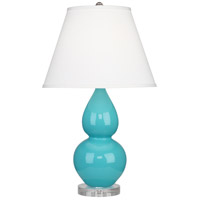 Robert Abbey A761X Small Double Gourd 22 inch 150 watt Egg Blue Accent Lamp Portable Light in Lucite Pearl Dupioni