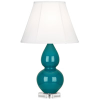 Robert Abbey A773 Small Double Gourd 22 inch 150 watt Peacock Accent Lamp Portable Light in Lucite, Ivory Silk
