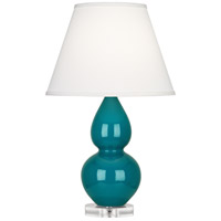 Robert Abbey A773X Small Double Gourd 22 inch 150 watt Peacock Accent Lamp Portable Light in Lucite Pearl Dupioni