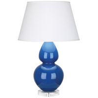 Robert Abbey A785X Double Gourd 30 inch 150 watt Marine Blue Table Lamp Portable Light in Lucite, Pearl Dupioni