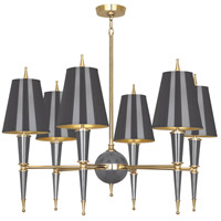 Robert Abbey A904 Jonathan Adler Versailles 6 Light 37 inch Ash Paint with Modern Brass Chandelier Ceiling Light in Ash Painted Opaque Parchment photo thumbnail