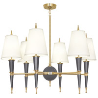 Robert Abbey A904X Jonathan Adler Versailles 6 Light 37 inch Ash Paint with Modern Brass Chandelier Ceiling Light in Fondine Fabric