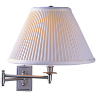 Kinetic Brushed Chrome 23 inch 150 watt Brushed Chrome Swing Lamp Wall Light in Pearl White Side Pleat Fabric