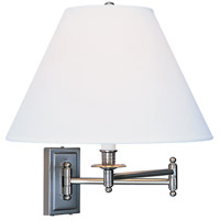 Kinetic Brushed Chrome 23 inch 150 watt Brushed Chrome Swing Lamp Wall Light in Ascot White Fabric