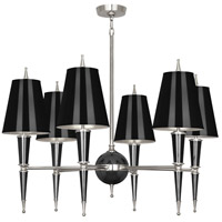 Robert Abbey B604 Jonathan Adler Versailles 6 Light 15 inch Black Lacquer with Polished Nickel Chandelier Ceiling Light in Black With Matte Silver