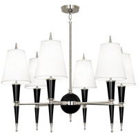Robert Abbey B604X Jonathan Adler Versailles 6 Light 15 inch Black Lacquer with Polished Nickel Chandelier Ceiling Light in Ascot White