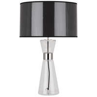 Robert Abbey B809 Penelope 30 inch 150 watt Clear Glass with Polished Nickel Table Lamp Portable Light in Black Ceramik With Silver Mylar